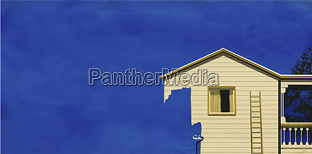 house disappearing as paint roller paints