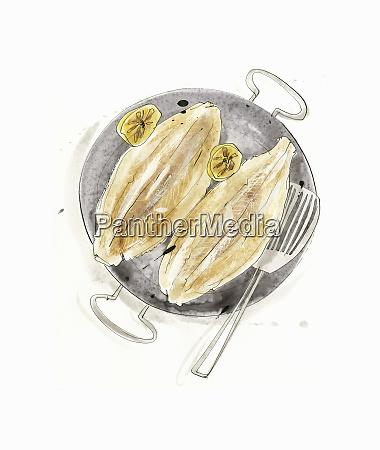fried sole in frying pan