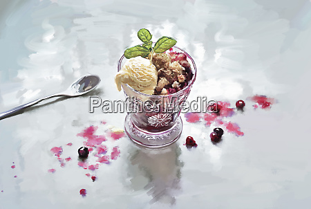 redcurrant fruit crumble with scoop of