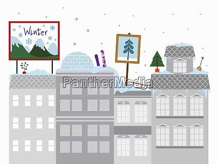 colorful winter activities on the roof