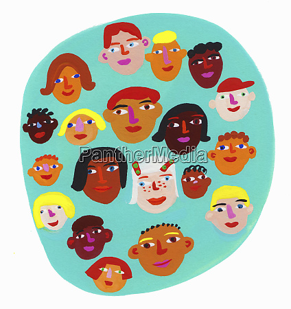 circle containing lots of childrens faces