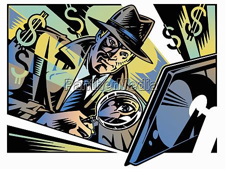 retro detective investigating computer crime with