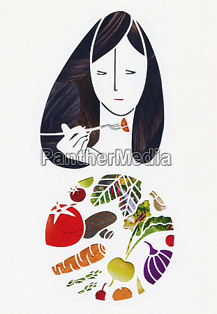 woman eating fresh vegetables with fork
