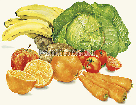 pile of fresh fruit and vegetables