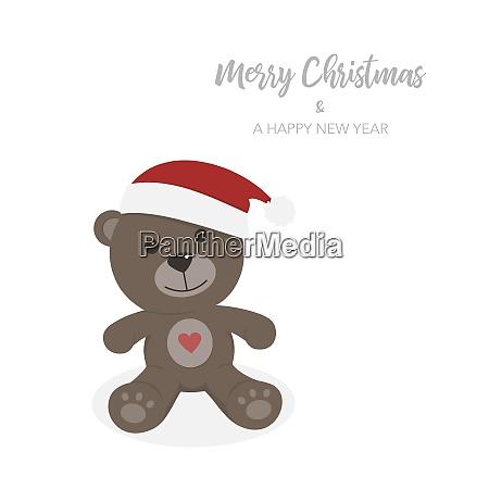 christmas card with isolated teddy bear