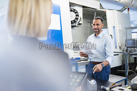 businessman with plan and woman in