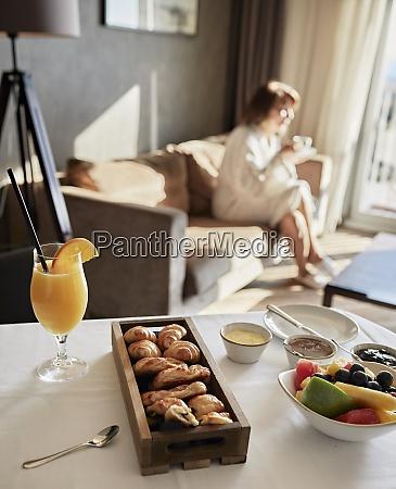 fresh breakfast on table with senior